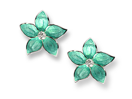 Turquoise Enamel Topaz Flower Stud Earrings