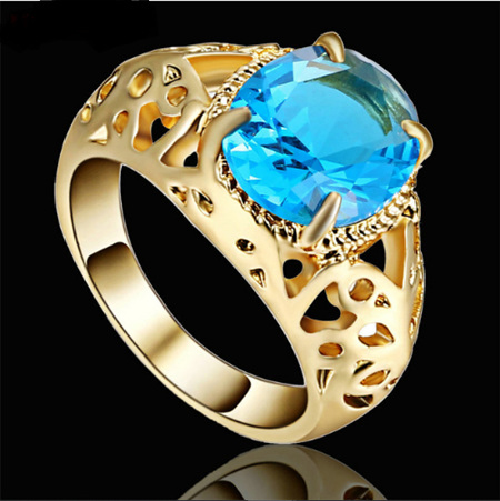 Turquoise Gemstone With Gold Band Ring - US7