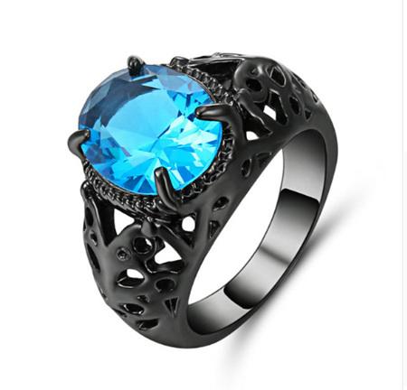 Turquoise Gemstone With Gunmetal Band Ring - US7