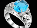 Turquoise Gemstone With Silver  Band Ring - US7