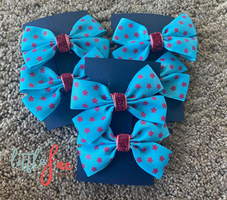 Turquoise & Purple Star Hair Bows