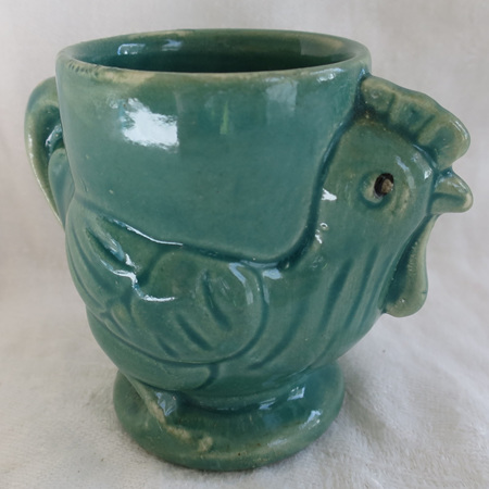 Turquoise rooster egg cup