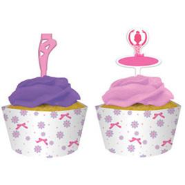 Tutu Much Fun Cupcake Wraps and Picks x 12