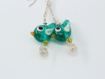 Tweetie pie earrings - teal
