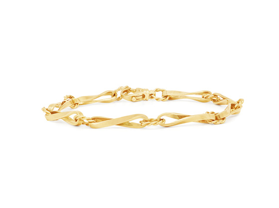 Twist Oval Yellow Gold Chain Bracelet
