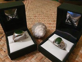 Two beautiful greenstone rings photographed by Salma