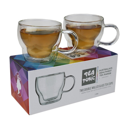TWO DOUBLE WALLED GLASS TEA CUPS