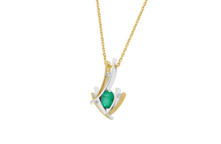 Two Tone Contemporary Design Emerald and Diamond Pendant