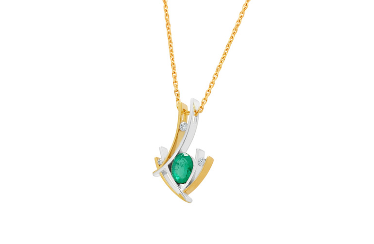 Two Tone Contemporary Design Emerald and Diamond Pendant