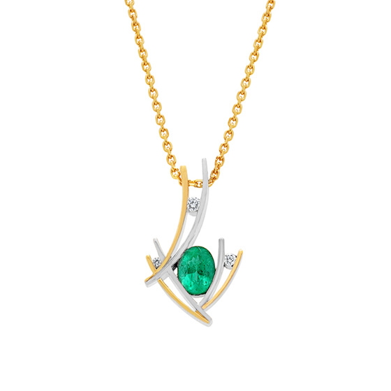 Two Tone Emerald and Diamond Pendant