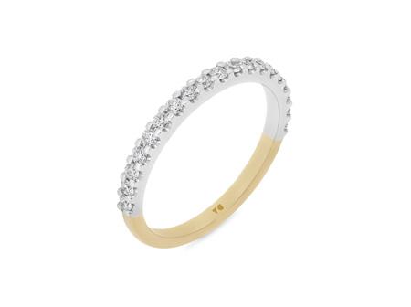 Two Tone Scallop Set Diamond Ring