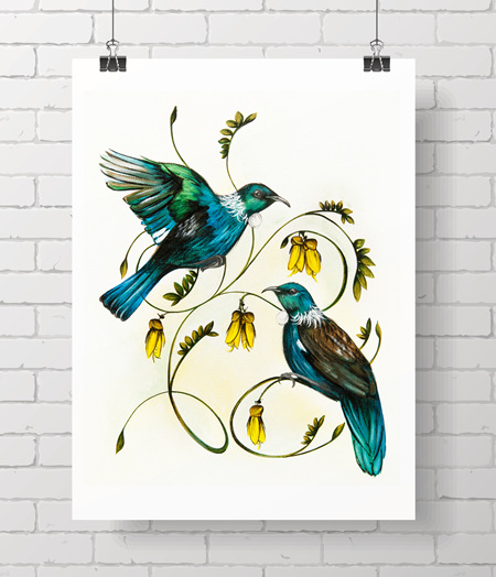 "Two tui 11x14"" print on A3"