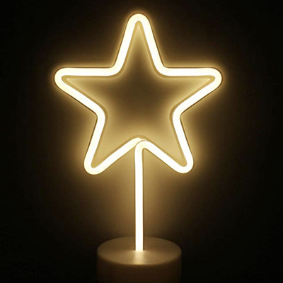 Two Way Powered USB and Battery LED Star Neon Light - Warm White