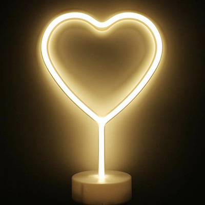 Two Way Powered USB and Battery Love Heart Neon LED Lights - Warm White