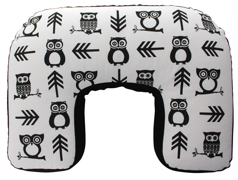 U shaped BabyBaby nursing pillow with a cute owl and arrow print on it