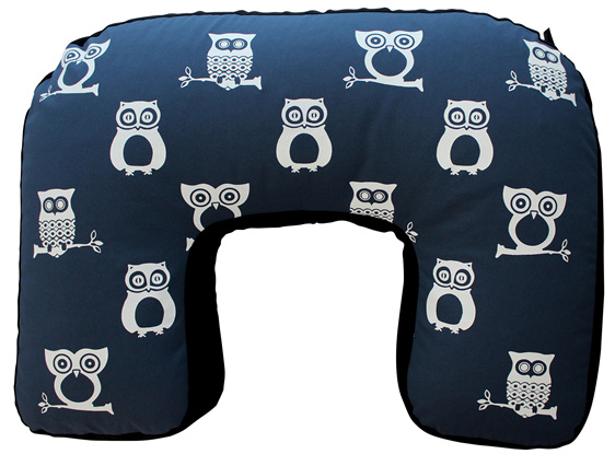 U shaped BabyBaby nursing pillow with a cute owl print on it