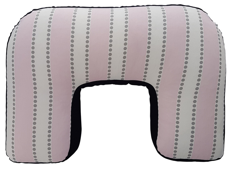 U shaped BabyBaby nursing pillow with a pink and white strip print on it