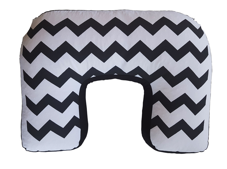 u shaped nursing pillow hand painted with a black on white chevron pattern
