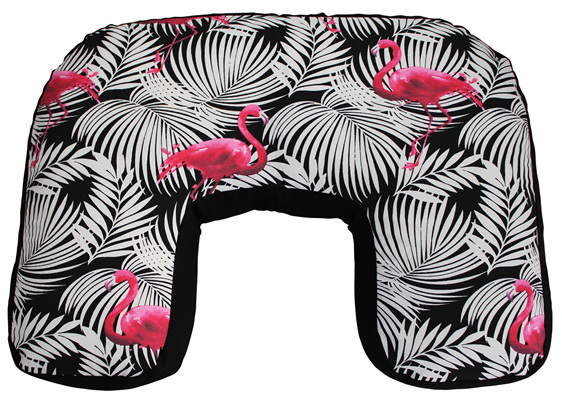 U shaped nursing pillow with black and white palm leaves and pink famingos