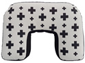 U shaped nursing pillow with hand printed crosses on pale grey fabric