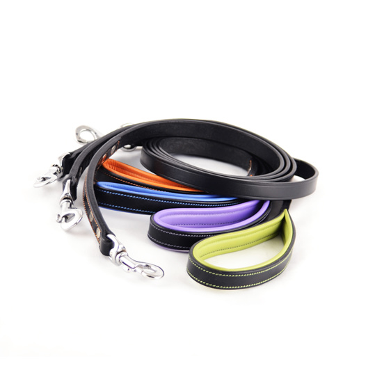 Ultra Slim Black Leather Dog Lead by Rogue Royalty