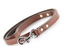 Ultra Slim Brown Leather Dog Lead by Rogue Royalty