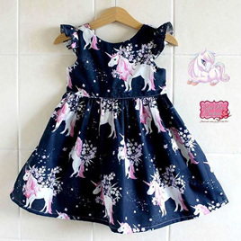 Unicorn Dress - Navy Size 2