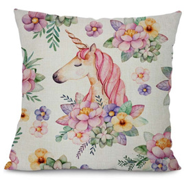 UNICORN & FLOWERS CUSHION COVER