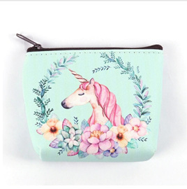 UNICORN ON FLOWERBED IN WREATH COIN PURSE