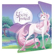 Unicorn Party Invites x 8