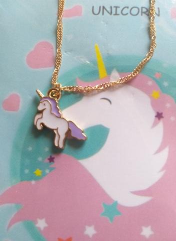 Unicorn Pendant Necklace (White purple mane & tail)