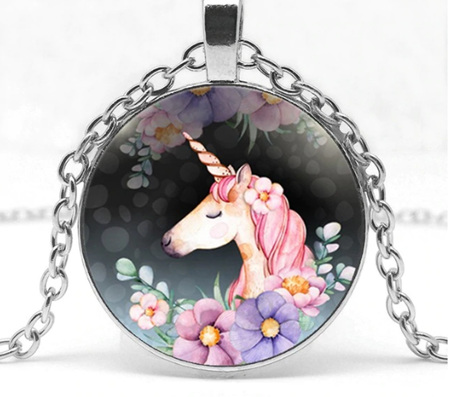 Unicorn Pink Mane on Flowers Pendant Necklace *Silver chain*