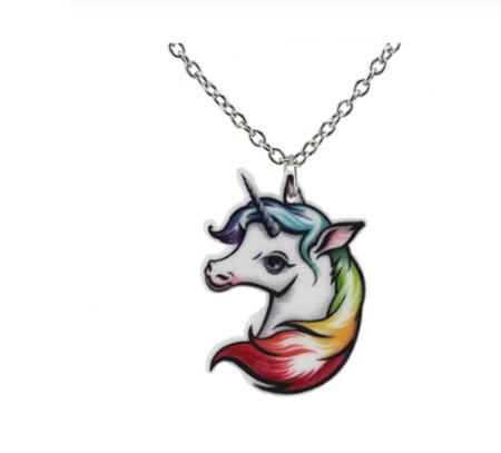 Unicorn Rainbow Mane Pendant Necklace