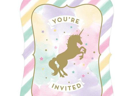 Unicorn Sparkle postcard invites