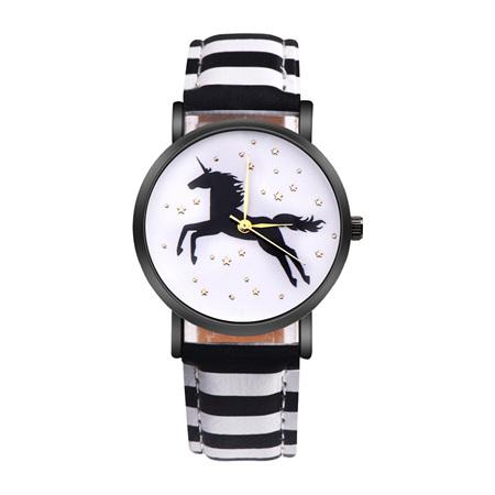 Unicorn & Stars Watch - Black & White Strap