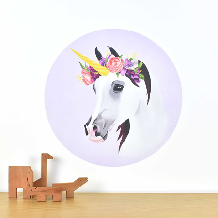 Unicorn wall decal with flower crown
