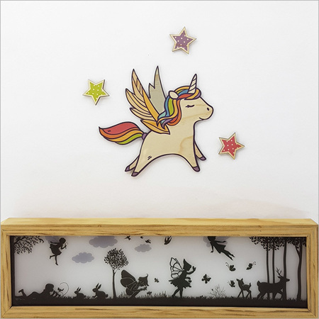 Unicorn With Stars Set - Kids Pine Wall Art