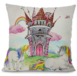 UNICORNS AT THE CASTLE CUSHION COVER