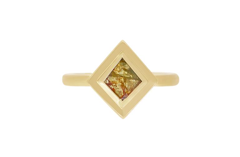 Unique Modern Natural Orange-Yellow Diamond Ring