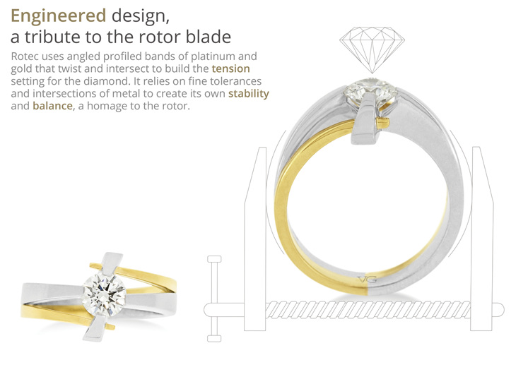 unique tension set diamond ring design from different angles