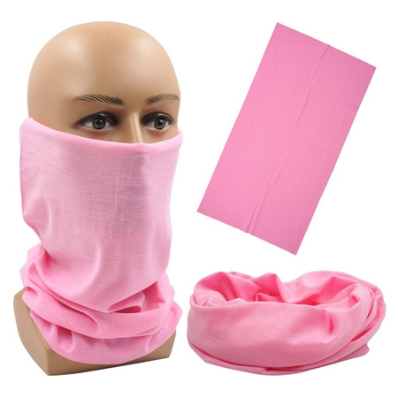 Unisex Solid Colour Half Mask Scarf - Pink