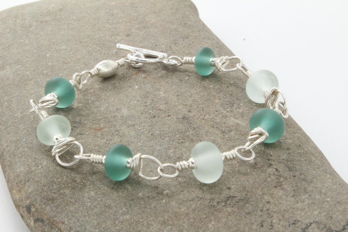 Upcycled  antique bottle glass bracelet - Teal & clear (small-medium)