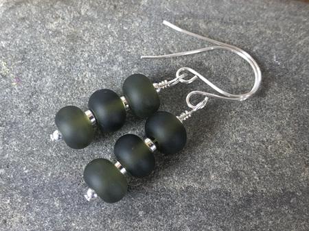 Upcycled antique bottle glass earrings - triple drop - wine