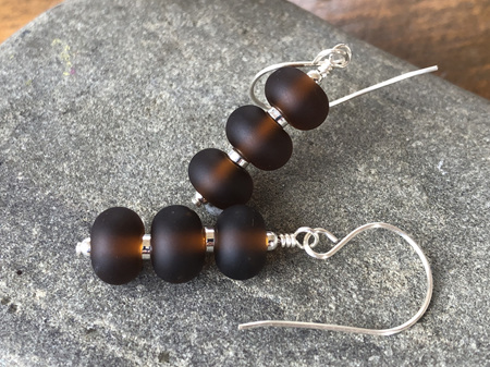 Upcycled antique bottle glass earrings - triple drop - beer