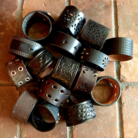 Upcycled Leather Shawl Cuffs by JamKnit
