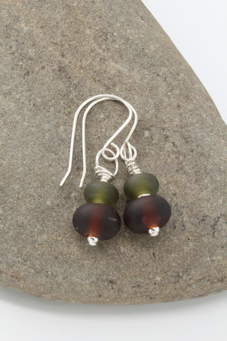 "Upcycled ""sea glass"" earrings - wine/beer"