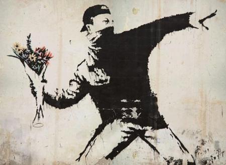 Urban Art Banksy Rage Flower Thrower - 1000 Piece Jigsaw Puzzle