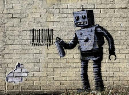 Urban Art Banksy Tagging Robot  - 1000 Piece Jigsaw Puzzle