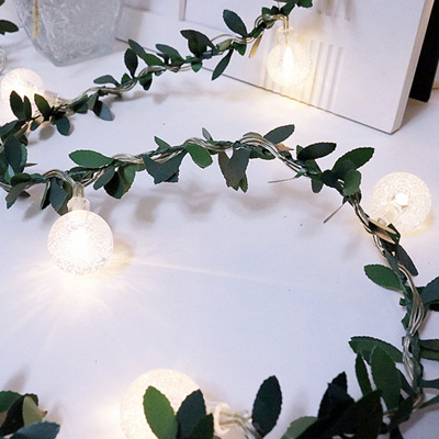 USB 6m  Spring Green Leaf with 40 Bubble Lights - Warm White
