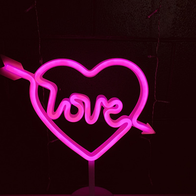 USB and Battery LOVE Arrow LED Light - Hot Pink